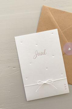 Letterpress geboortekaartje Juul | Studio Moose Grafik Design, Stamping Up, Letterpress, Moose, Baby Boy, Invitations, Studio, Cover, Restaurant Branding