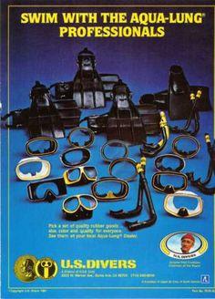 US Divers Mask Ad, Dive History Scuba Shop, Jacques Cousteau, Life Aquatic, Diving Equipment, Scuba Diving, Vintage Ads, Underwater, Brave, Diving