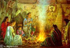 native american paintings Hubert Wackermann | Crow Medicine Lodge༺ ♠ ༻*ŦƶȠ*༺ ♠ ༻