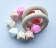 Wooden Toy Pink teether Organic Teether Wooden by FeltmanAndCo