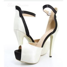New Arrival Contrast Color Peep-Toe Heels