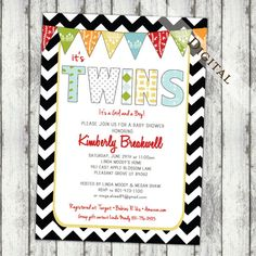 twins baby shower invitations for twin boy and by JoyInspiration, $13.00