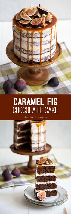 Caramel Fig Chocolate Cake: dark chocolate cake layered with fig jam, frosted with caramel buttercream, and topped with salted caramel drizzle and fresh fig. Yum!!