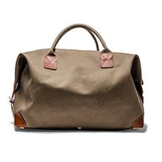 Canvas & Leather Holdall Bag (Olive)