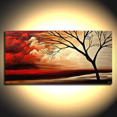 Original Red Landscape Painting on Canvas Tree Art by OsnatFineArt