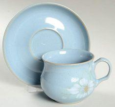 Blue Dawn Flat Cup & Saucer Set by Denby-Langley