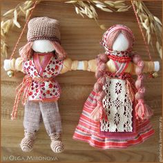 "Russian Traditional Folk Dolls ""Nerazluchniki"" - ""Never-Part""."