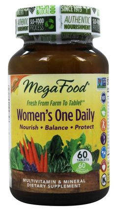 Save on Women's One Daily by MegaFood and other Multiple Vitamins, Multiple Vitamin & Mineral Formulas, Multiple Formulas          and Non-GMO remedies         at Lucky Vitamin. Shop online for Women's Health, Vitamins & Minerals, Nutritional Supplements, MegaFood items, health and wellness products at discount prices.