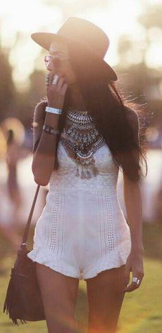 Boho Necklace + Fringe Bag + Crochet Romper - Coachella Style Festival Fashion