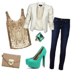 Note: The skinny leg of the jean makes the legs look longer and slimmer. With the short blazer, the figure will be further complimented with a shorter torso longating the legs. The tank gives the perfect amount of sparkle, paired with the teal/mint accessories.