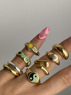 Nail Jewelry, Cute Jewelry, Jewelry Accessories, Simple Jewelry, Gold Jewelry, Looks Pinterest, Nail Ring, Accesorios Casual, Cute Rings