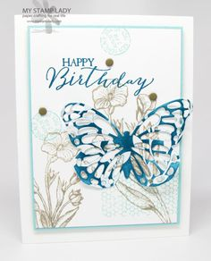 Butterfly Basics & Butterflies Thinlits Handmad birthday Card with Stampin' Up! supplies. www.mystamplady.com