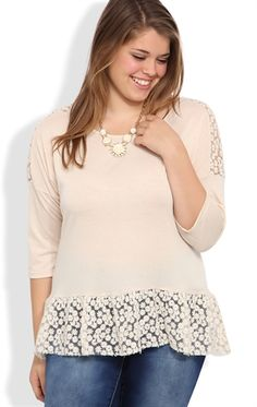 Deb Shops Plus Size Three Quarter Sleeve High Low Top with Daisy Crochet Trim $17.17