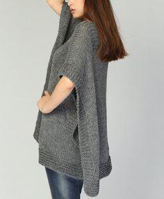 Poncho tejido a mano / capa de carbón de leña eco algodón