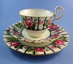 Rare Striking Pink Rose with Black Stripes Aynsley Tea Cup, Saucer and Plate Set