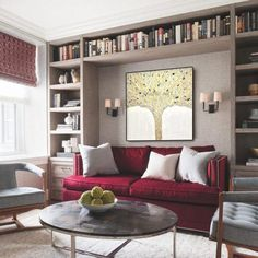 Small Home Libraries, Home Library Rooms, Home Library Design, Home Office Design, Cozy Home Library, Library Bedroom, Snug Room, Bookshelves Built In, Bookcase Behind Sofa