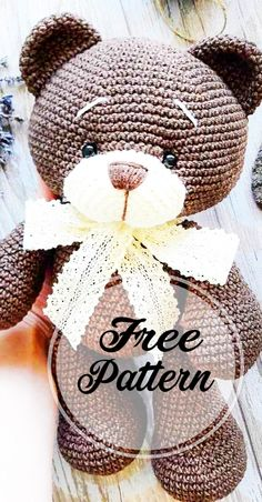 Crochet bear amigurumi free pattern part crochet amigurumi; amigurumi instructions free of charge; amigurumi crochet pattern for f Chat Crochet, Bunny Crochet, Crochet Amigurumi Free Patterns, Crochet Dolls, Free Crochet, Crochet Teddy Bears, Crochet Teddy Bear Pattern Free, Crochet Animal Patterns, Crochet Doll Pattern