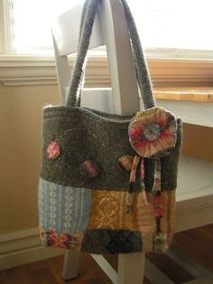 Wool bag upcycle from reclaimed sweater                                                                                                                                                                                 More