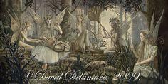 "Midsummer Night's Dream (Unframed Signed 36""x18"" Giclée Print) Shakespeare Fairy Art / Faery Art  by David Delamare"