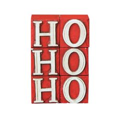 Ho-Ho-Holiday Display Blocks in Red & White -
