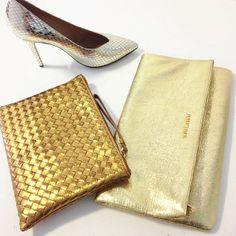 Golden wonders! Isabel Marant pumps, Bottega Veneta pouch and YSL clutch