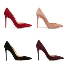 Kate must love her Gianvito Rossi pumps in suede. She appears to own 4 pairs in different colours: red, black, burgundy/purple & biscuit/blush