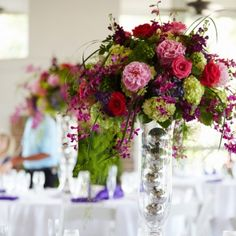 Hilton Head Island Beach Wedding with rich color palette of purples, pinks and punches of green.
