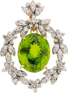 Estate Jewelry:Pendants and Lockets, Peridot, Diamond, Gold Pendant. ...