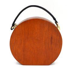 2016 new fashion women's personality of western style wood dinner bag semi-circular wooden unique handbag