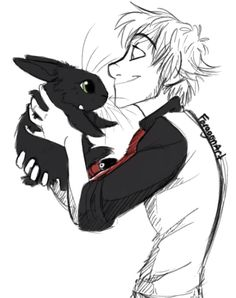 How to Train Your Dragon #httyd : Modern!Hiccup and Bunny!Toothless ... I repeat, BUNNY Toothless ~ #icanteven | by FaragonArt.tumblr
