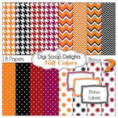 Halloween Black, Orange, Red, Purple, Houndstooth, Chevron, Fall / Autumn Teacher, Card Making, Crafts, projects for October and November