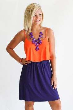 ruffle color block dress Clemson colors for my hubby