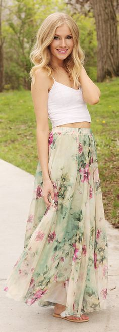 Maxi Floral Skirt Summer Style