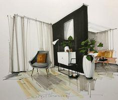 Home Decoration With Curtains Interior Design Renderings, Interior Design Institute, Drawing Interior, Interior Rendering, Interior Sketch, Interior Paint, Living Room Interior, Interior Architecture, Interior And Exterior