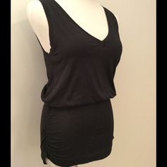 Theory V-Neck Tank Black Ruches Bottom. Soft cotton black tank with a fitted ruched  bottom. The color is a very very dark slate, not quite black. Theory Tops Tank Tops