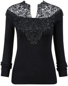 Black V-Neck Crochet Ribbed Sweater 21.33