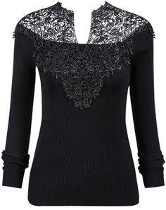 Black V-Neck Crochet Ribbed Sweater 21.33