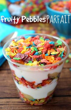 yummy yet simple breakfast for the kiddos? These fruity pebble parfaits are perfect for a quick breakfast that the little ones will love. Healthy Snacks For Kids, Yummy Snacks, Snack Recipes, Yummy Food, Snack Ideas For Kids, Fun Recipes For Kids, Quick Meals For Kids, Easy Cooking For Kids, Kid Snacks