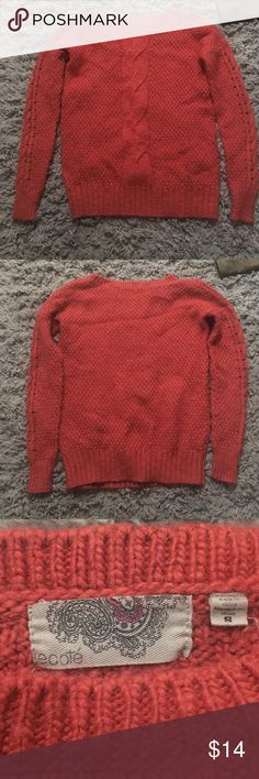 Minimal wear orange Urban Outfitters sweater Minimal wear Ecote brand sweater from Urban Outfitters. Beautifully knitted sweater with a twisted design down the middle of the sweater. Wool, nylon and a little bit of spandex Urban Outfitters Sweaters Crew & Scoop Necks