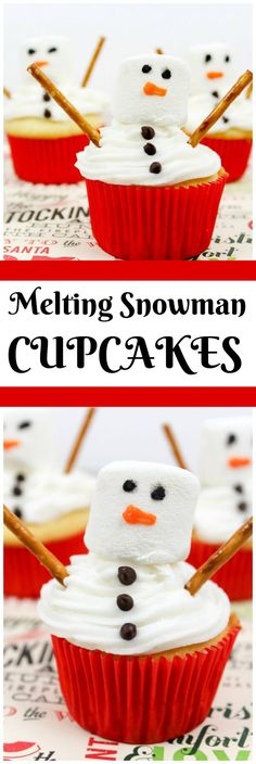 MELTING snowman cupcakes