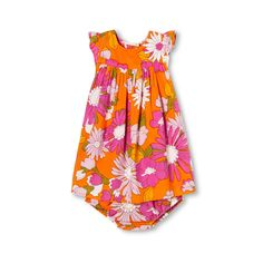 Infant Girl's Sleeveless 2-Piece Outfit, Pink Orange Floral