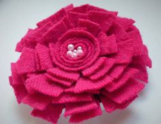 Pink Felt Flower Pin in Soft Cashmere by WoolenBlooms on Etsy