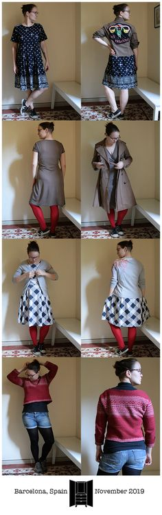Yeah, the cold weather is *in*, unclear if to call this autumn or winter, though… but the change was swift, and those Monday bare legs are unimaginable on Sunday. Expensive Clothes, Charles James, Jane Fonda, Gingham Dress, Long Winter, November 2019, Grey Cardigan, Barcelona Spain, Puffer Jackets
