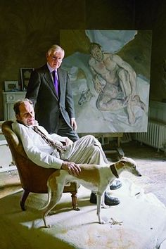 Lucien Freud with one of his whippets
