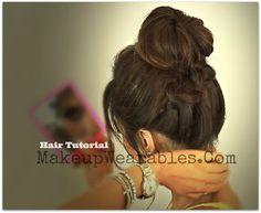 Hair tutorial | How to make a perfect braided messy bun for medium long hair | school hairstyles updos