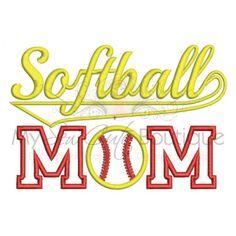 Softball Mom Applique Design Machine Embroidery Designs