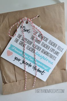 Teacher Appreciation printable card from @30daysblog.