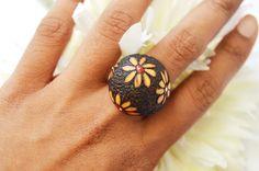 Fashionable Finger ring- Wood burnt adjustable finger ring