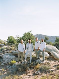 Chic desert-styled groom and groomsmen: http://www.stylemepretty.com/2016/09/29/guests-stayed-in-safari-tents-for-their-desert-chic-wedding/ Photography: Brumley and Wells - http://brumleyandwells.com/