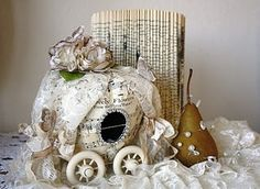 Unique idea using a paper mache pumpkin. I can see it in shades of pink for a little princess! From: ozma of odds: .musical pears and a paper pumpkin carriage tutorial Book Crafts, Arts And Crafts, Paper Crafts, Diy Crafts, Diy Paper, Craft Projects, Projects To Try, Craft Ideas, Pumpkin Carriage